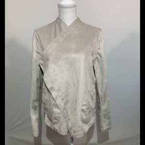 BB Dakota faux suede drape front jacket